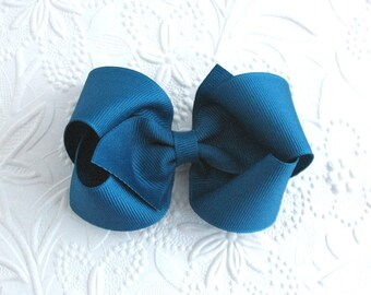 Teal Hair Bow, Peacock Blue Boutique Bow for Girls ~ Toddler ~ Back to School