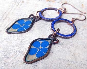 Blue earrings - Gardener Gift Artisan dangle earrings - torch fire enamel earrings - Bohemian jewelry