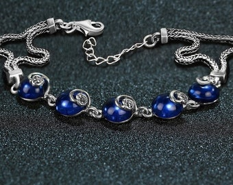 Bracelet: blue chalcedony and 925 Sterling Silver