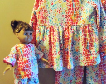 "Girls size 8 flannel pajamas in wild animal spot print of rainbow colors with matching pj's for 18"" doll"
