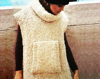 Poncho with pocket pattern retro vintage, pdf instant download tutorial, winter model hippie 70's style, hand knit DIY RetroWoolCool fashion