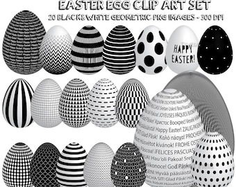 Easter egg clip art set - black and white geometric printable digital clipart - instant download