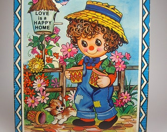 Vintage Raggedy Ann or Andy Style Cork Wall Hanging. Love is a Happy Home, By Coby, Nursery, Child's Room