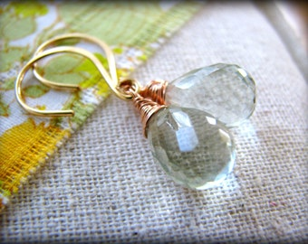 Green Garnet Gold Earrings - Gold Filled Rose Filled Dangle Drop Simple Gift Sister Best Friend Mother Daughter Wife