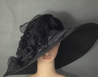Black Funeral Hat with rose  ,Formal Hat, Special Occasion, Black Kentucky derby hat