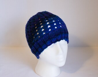 Side Swipe Hat knitting PATTERN - warm cozy knit stocking hat for worsted weight yarn  - permission to sell finished items