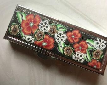 Pill Box, Polymer Clay Enhanced, Black and Orange