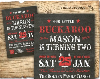 Cowboy invitation - second birthday invitation - Western 2nd Birthday invitation - Chalkboard cowboy printable invitation / invite