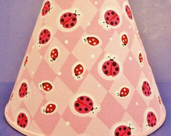 Ladybugs on Pink Lamp Shade