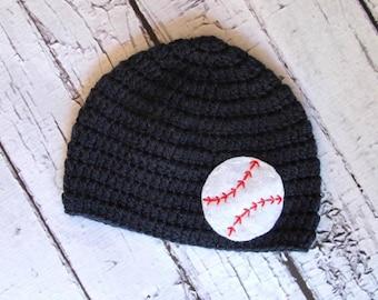 Baseball Baby Hat | Crochet Boy Hat | Baseball Hat with Felt Appliqué | Sizes Baby to Teen