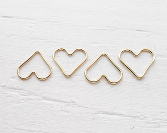 Gold Wire Heart Charm Gold Filled Open Heart Pendant (LHGF540)