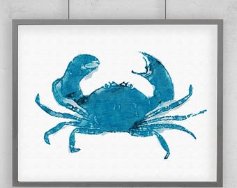 Turquoise Watercolor CRAB Print with Size and Matting Options