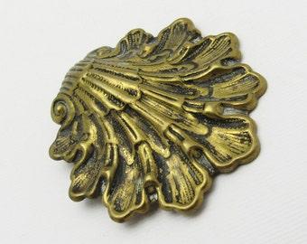 Vintage Dress Clip Brass Shell Jewelry