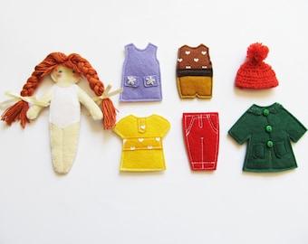 Doll dressing play set, Felt paper doll, Non paper doll, Felt doll, Starter dressing set, Dress up outfit doll, Gift for girl, Cloth doll