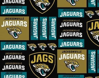NFL Jacksonville Jaquars Patchwork 100%Cotton Fabric by the yard