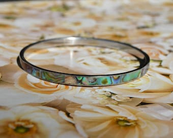 Vintage Abalone Bangle – Elegant and Refined Ladies Bracelet - Perfect Mother's Day Gift
