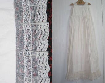 Exceptional Antique Baby~Infant-Dress~Gown- Christening Baptismal Gown-Flower Girl Wedding Valenciennes- Lace-Pintucks