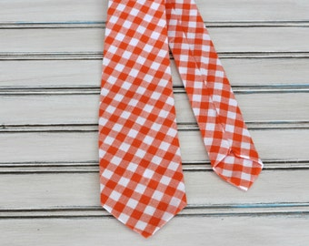 Orange Gingham Tie for Men, Youth, Boys, Mothers Day Gift