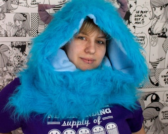 Blue Horned Monster Faux Fur Handmade Snood / Cowl / Scarf With Hand Pockets Topped Off With Horns!