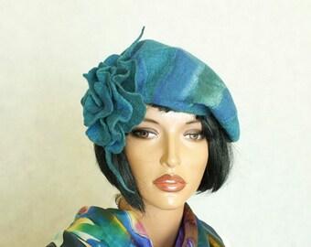 Beret Blue green beret felted  French beret Silk wool beret Beret with brooch Nunofelt beret