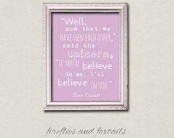Unicorn Alice in Wonderland Lewis Carroll Typography Quote