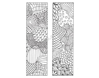 Printable Bookmarks, Zentangle Inspired Coloring Page, DIY Zendoodle Bookmarks to Print and Color, Digital Download, Sheet 7
