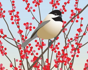 Bird Art Print, Chickadee Winter Red Illustration Drawing Blue Woodland Wall Art Wall Decor Branches Nature
