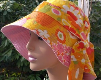 Chemo Cap Cancer Hats Beach Hats Sun Hats Floppy Hat Handmade in the USA  Medium Large