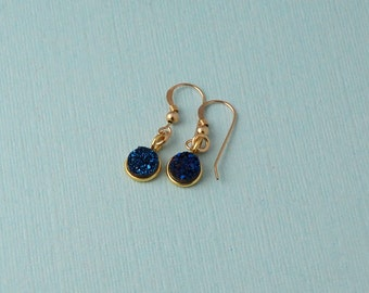 Blue Druzy Drop Earrings / round blue druzy earrings / dangle earrings / Gold druzy earrings