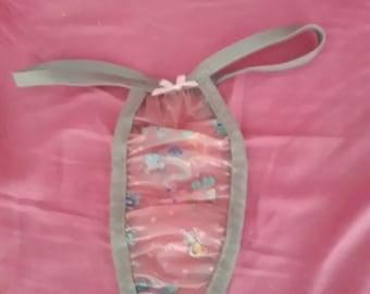 Adult baby waterproof  soft pink nursery  plastic    panties grey