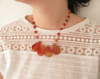 Carnelian necklace, Beaded necklace, Gemstone necklace, Boho necklace, Tribal necklace, Gipsy necklace, Ethnic necklace, Unique necklace