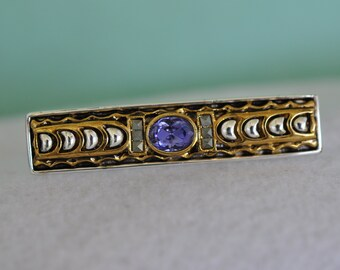 Vintage Purple Stone Bar Brooch, Two Tone Brooch, Vintage Brooch, Silver Brooch, Gold Brooch, Purple Brooch, Lavender Scarf Pin, 18-335