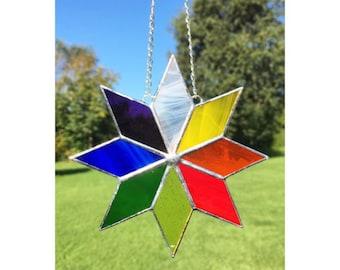 Stained Glass Multi Coloured Star Suncatcher Decoration, Rainbow Colours
