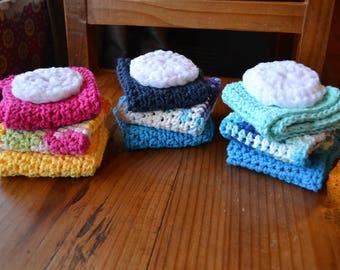 Set of 3 handmade crochet dishcloths with scrubby! 100% Cotton.