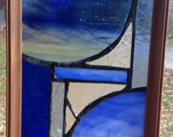 """blue stained glass  6.5"""" x 8"""""""