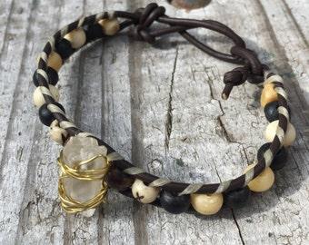 Crystal Boho-Style Beaded Bracelet, Leather Wrap Bracelet, Crystal Healing and Mediation, Chakra healing, Clear quartz crystal, leather wrap