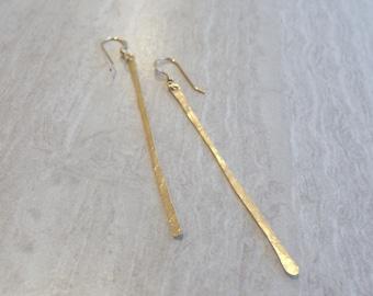 Long Gold Earrings, Gold Bar Earrings, Thin Gold Earrings, Modern Earrings, Minimalist Earrings, Dangle Earrings, Simple Earrings,  Everyday
