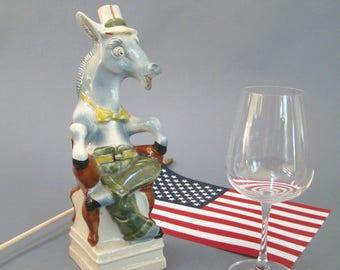 Vintage Decanter; Cetti Red Wine; Donkey; Democrat; Donkey Decanter; Donkey Carafe; Patriotic; Election; Ceramic; Political; Mule