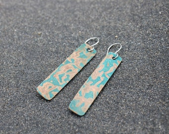 Copper with patina drop earrings