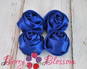 "Royal Blue Satin Rosette - 2"" inch size - satin rose flowers - rolled soft rosette - Royal Blue color - Set of 4 or 8 pieces"