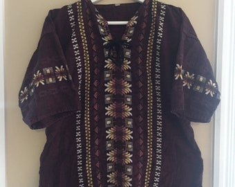 Vintage Woven Peruvian Guatemalan Embroidered Tunic Top - Burgundy Merlot - Size Large - Lace Tie Up Front