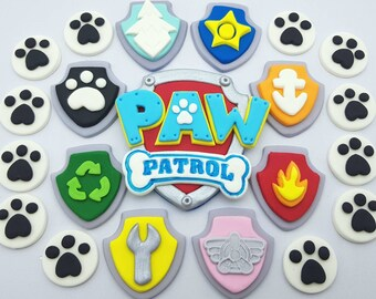 Paw Patrol Cake Topper Sets, Logo and 8 badges with 12 optional Paw Prints, Complete Fondant Birthday Decorations