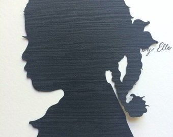 Two Custom Hand Cut Silhouettes / Silhouette Cameo / Silhouette Pictures / Paper Cutouts Paper Cutting Child Silhouette