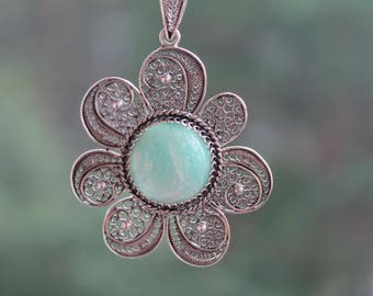 Amazonite Necklace.Pendant from silver with amazonite