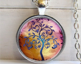 Tree Pendant, Whimsical Modern Tree Art Pendant, Tree Charm Necklace
