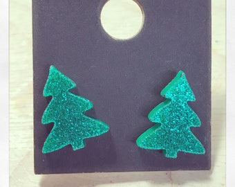 Green Glitter Christmas Tree Acrylic Earrings