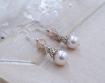 Silver Filigree Pearl Champagne Pearl Earrings Bridesmaid Earrings Rhinestone Earrings Long Bridesmaid Gift  Peach Pearl Earrings Bride Gift
