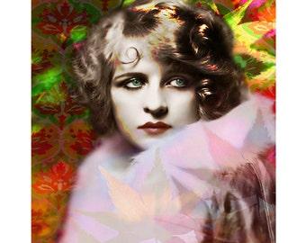 Autumn vintage flapper, digital print, photomontage, vintage art print, art Deco, fine art print, 1920 s print, vintage movie star, artwork
