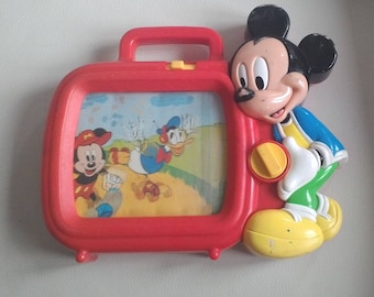 Vintage Arco Disney Mickey Mouse TV Toy Musical Wind-Up Scroll Television Red