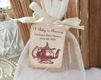 Baby Shower Tea Party Favor Set Organza Bags and Personalized Tags Set of 10 Teapot Neutral A Baby is Brewing